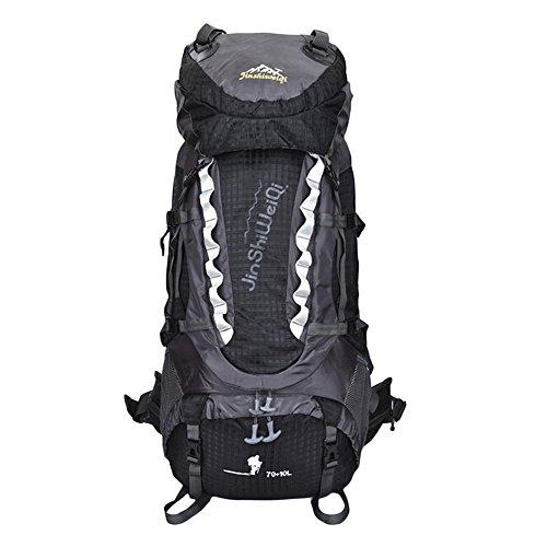 70L + 10L Camping Sac Sport Outdoor super grand châssis interne Randonnée Trekking Sac à dos Rucksack eau résistant , black