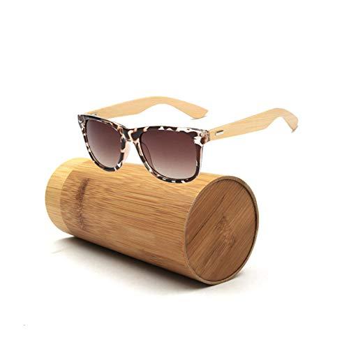 WZYMNTYJ Frauen Vintage Quadratische Sonnenbrille Mit Bambusbeinen Gespiegelt Sommer Stil Reise Unisex Brillen Holz Box