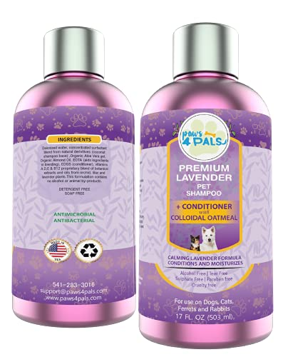 Paws4Pals Natural Organic Oatmeal Lavender Dog Shampoo+Conditioner-Grooming Pet Supplies Tear Free Blend Wth Aloe Vera Gel For Dry Sensitive Itchy Skin-Hypoallergenic Soap Free For Puppies Dogs & Cats