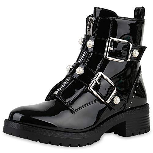 SCARPE VITA Damen Stiefeletten Biker Boots Schnallen Leder-Optik Schuhe Bikerstiefel Booties Zierperlen Zipper 174822 Schwarz Zierperlen 40