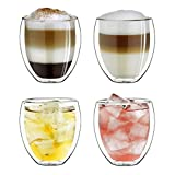 Creano Set di 4 Vetro Termico a Doppia Parete Bulboso, Grande Bicchiere da Bere Resistente al Calore in Vetro Borosilicato, Vetro per caffè/tè   250ml