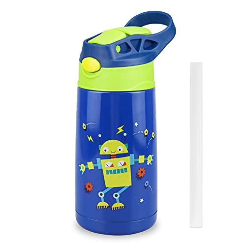 XccMe Kids Sippy Cup,12oz Stainless Steel Toddler Water Bottle,Double Wall Vacuum Insulated Sippy Tumbler with Handle Spill Proof Lid,Children Thermos for Water Milk (Blue, 1 PACK)