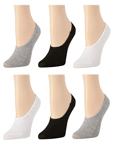 Body Glove Women's No Show Non-Slip Grip Liner Socks With Reinforced Heel And Toe (6 Pack), Assorted, Size Shoe Size: 4-10
