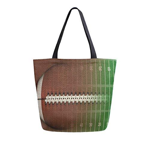 3D-Fußballfeld-Canvas-Tragetasche für Frauen, Reisen, Arbeit, Einkaufen, Lebensmittel, Top-Griff, Geldbörsen, große Tragetaschen, wiederverwendbare Handtaschen, Baumwoll-Schultertaschen