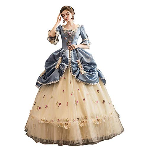 High-end Court Rococo Baroque Marie Antoinette Ball Dresses 18th Century Renaissance Historical Period Dress Gown for Women (M:Height65-67 Chest36-37 Waist28-29, Yellow & Blue)
