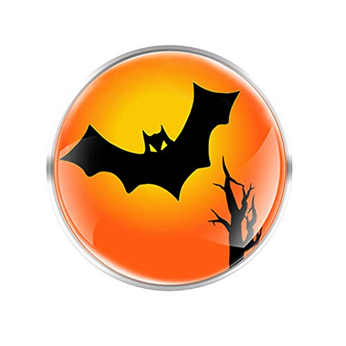 COLORFULTEA American Halloween Bat Glass Round Convex Brooch Men Womenjackets Coat Decoration Gift