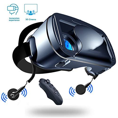 LPWCA VR Brille,VR Headset,Universal Virtual Reality Box Mit Bluetooth Fernbedienung Und Kopfhörer in Ears, Kompatibel Mit 5-7 Zoll Smartphone