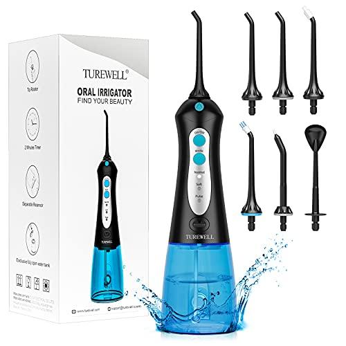 Irrigadores Bucales Portatil -TUREWELL Irrigador Dental con 6 Boquillas 3 Modos,IPX7 Impermeable,Recargable para Limpieza Dental, 300ML Irrigador Oral Portátil Profesional de Familia y Viajar