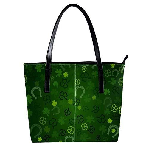 LORVIES Glücksklee St. Patrick's Day Schultertasche aus PU-Leder und Handtasche für Damen