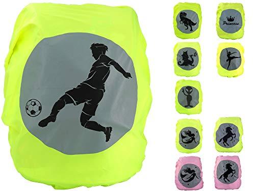 EANAGO Premium Schulranzen/Rucksack Regenschutz/Regenüberzug, ohne Nähte, 100{335ba70e94ad80de2c368e1a103c33fad4e8db35c7192425e0f6cdba77d26d0f} wasserdicht, mit Sicherheits-Reflektionsbild Fußball