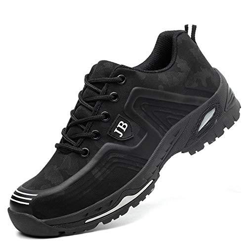 Zapatos de seguridad, ligeros, Kevlar, para hombres y mujeres, zapatos de trabajo, puntera de acero, transpirables, zapatillas de protección, color Negro, talla 42 2/3 EU