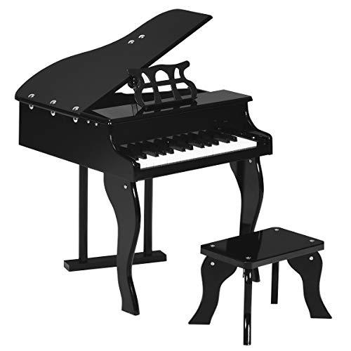 COSTWAY Piano para Niños 30 Teclas con Atril Piano de Juguete de Madera con Banco Mini Juguete Musical para Niños de 3 a 8 Años