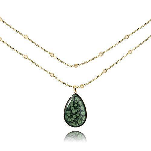Klassisch Dunkelgrün Vergoldet Kugelkette Halskette Geschenke für Damen; Grace Leicht Groß Collier mit Anhänger Tropfenform; Länge 100cm