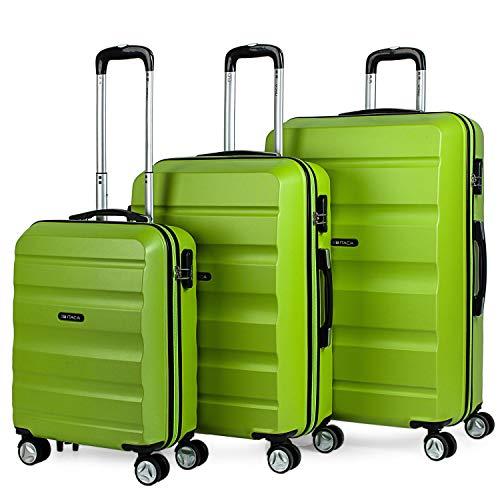 ITACA - 3er Hartschalen Kofferset 55/65/75 cm ABS. 4 Rollen. Robuster und leichter. Hängeschloss. Kleine Koffer genehmigt für Ryanair, mittlere und große. Hochwertiger und Markenz, Color Pistaziengrün