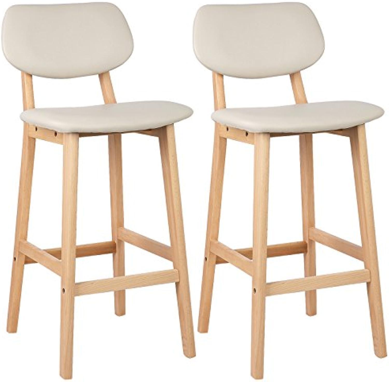 WOLTU BH51cm-2 2 x Barhocker 2er Set Barstühle Gut Gepolsterte Sitzflche und Rücklehne aus Kunstleder Design Stuhl Holz Cremewei
