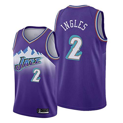 LITBIT Baloncesto de los Hombres NBA Jersey Vintage Utah Jazz 2# Inglés Snow Transpirable Secado rápido Vestima sin Mangas Top para Deportes,Púrpura,XL
