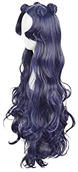 Yuehong Blue Long Curly Wig Cosplay Halloween Fashion Party Costume Wig Heat Resistent Hair Wigs