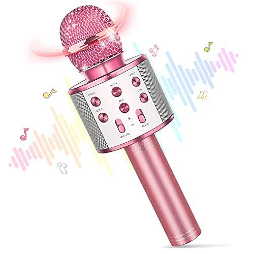 Regalo Niña 4-14 Años,Karaoke Con Microfono Inalambrico Juguetes Niña 4-14 Años Halloween Regalos Regalos Niñas 8 9 10 Años Originales Microfono Niña La Noche Buena Regalo de Cumpleaños Niña 5 6 7Años