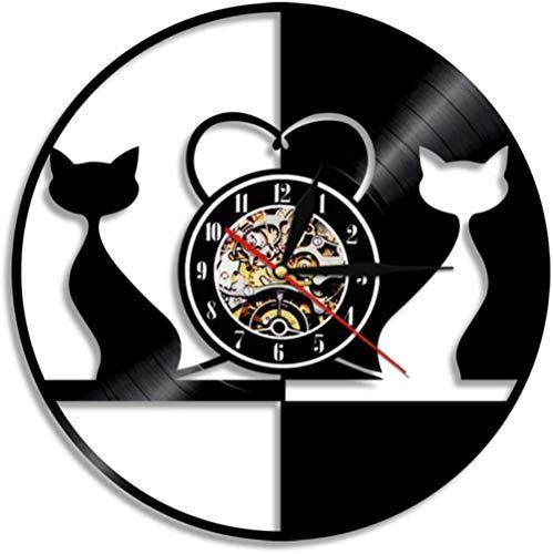 zgfeng Diseño Retro Amor Gato iluminar Reloj de Pared Animal Disco de Vinilo Reloj pareado Gato luz led Gatito Hello Kitty decoración del hogar Reloj-con LED