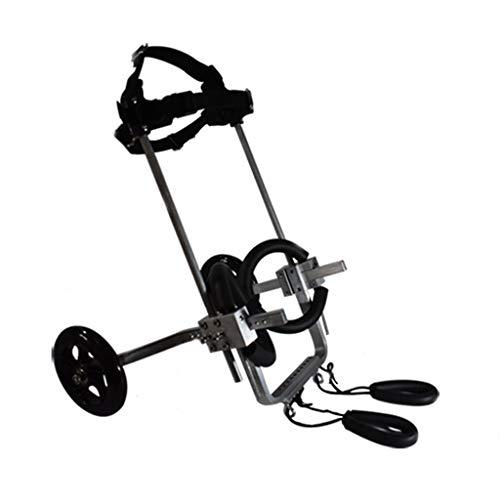KHUY verstelbare hond huisdier rolstoel voor achterpoten revalidatie, 2 wielen hond winkelwagen wielen, XS-1