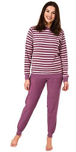 Eleganter Damen Frottee Pyjama Schlafanzug mit Bündchen in Streifenoptik - 291 201 13 572, Farbe:Beere, Größe2:48/50