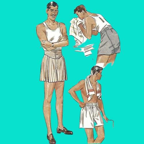 Simplicity 1940er Schnittmuster Herren Jockey-Shorts Boxershorts – Taille 81,3 cm