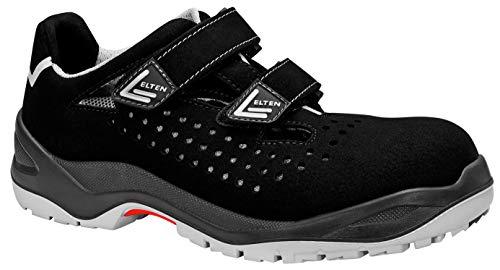 ELTEN Sicherheitsschuhe IMPULSE grey Easy ESD S1, Herren, sportlich, leicht, schwarz/grau, Kunststoffkappe, Klettverschluss - Größe 43