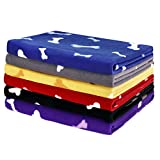6 Pack Pet Blanket Soft Fleece Dog Cat Blanket, Fluffy Warm Sleep Bed Cover with Dog Bones Print for Kitten Puppy, Pet Kennels, Beds, Car Seats and Crate (Medium)