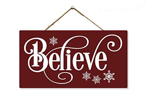 Believe Sign Wood Christmas Decorations Signs Wooden Wall Art Decor Wreath Door Hanger Hanging Ornament Porch Gift SP-05100002009