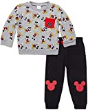 Disney Baby Boys' Mickey Mouse 2 Piece Jogger Set – Fleece Pullover Crew Neck Sweatshirt & Sweatpants Set (Infant), Grey/Black, Size 24 Months