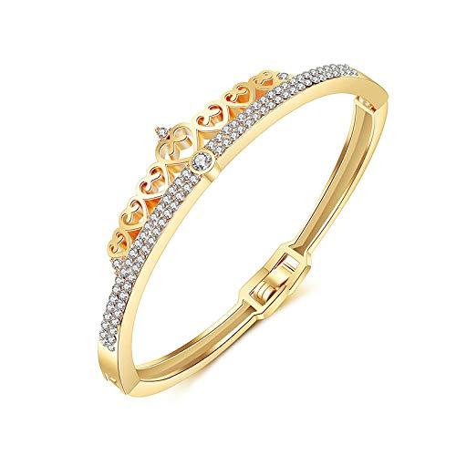 KRMZB Pulsera de Oro Rosa Amor Pulsera Corona Diamante Reloj Pulsera Joyería de Estudiante