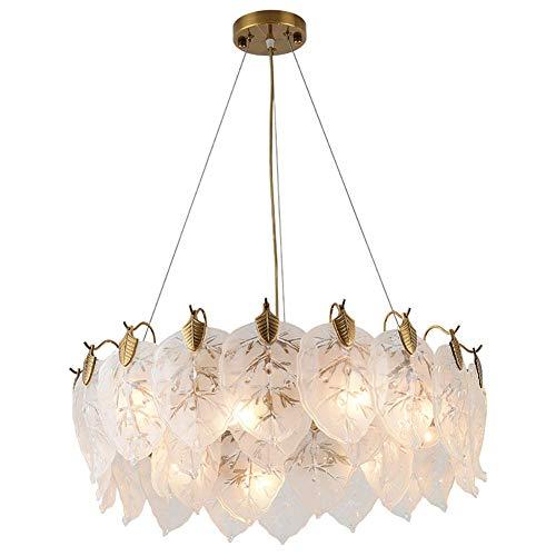 WEM Candelabro, Nordic Creative E14 Candelabro, Luz colgante de luz colgante de hojas de lujo, Lámpara de techo con acabado de bronce posmoderno Candelabros para dormitorio Pasillo Bronce 80X22Cm,Bro