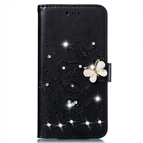 Glitter Hoesje voor Samsung Galaxy S9 Wallet Book Case, Magneet Flip Wallet Slim Beschermende Telefoonhoes met Kaarthouders slots Robuuste schokbestendige Bookcase voor Samsung Galaxy S9 zwart