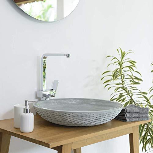 wohnfreuden Sandstein Aufsatz-Waschbecken Lemper 50 cm grau rund gehämmert