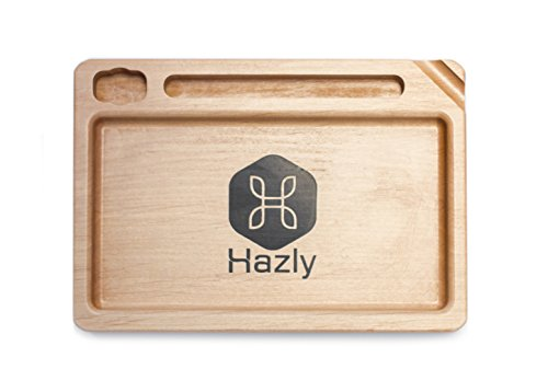 Hazly Rolling Tray | Echtholz Drehunterlage Mischschale mit Platz für Feuerzeug, Papers und Joint | Hohe Qualität - Made in Germany - Rolltablet Rollingtray Tablet