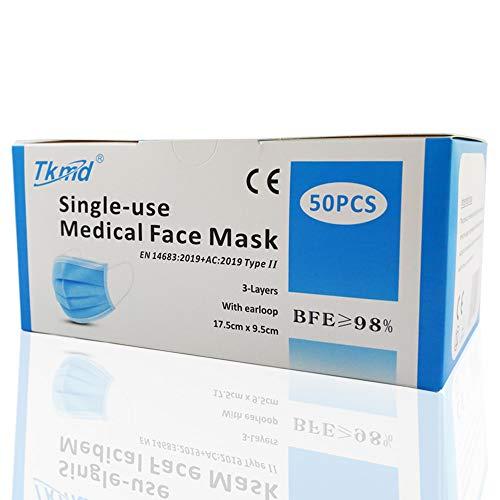 TÜV Geprüft Medizinische Schutzmasken Einweg OP Masken Gesichtsmasken EN 14683 TYP IIR 3-Lagig BFE 98% CE, 50 St.
