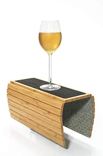 SUNTREKKA Sofa Armlehnentisch - Bambus Couch Armlehne Tablett - Premium Armlehne Getränkehalter - Couch Armtisch - Faltbares Sofatablett - Umweltfreundliches Holz - Ideal für Sofa, Sessel, Strand