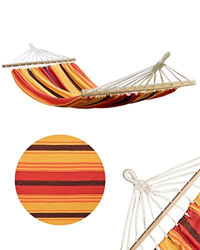 Shopping Hero Amaca singola extra larga, 120 x 200 cm, in 100% cotone, con asta e passanti, fino a 100 kg (arancione/giallo)