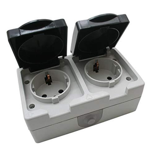 2-fach Außen IP44 / IP54 Feuchtraum Aufputz, Steckdose, Doppelsteckdose Schuko Wasserfest mit Klappdeckel