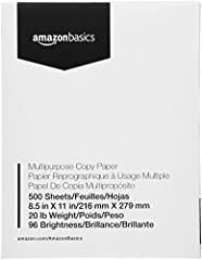 1 ream of letter-size multipurpose copy paper (500 sheets total) Works with laser/inkjet printers, copiers, and fax machines High-quality 20-pound weight for economical printing and resistance to paper jams Bright white for better contrast; 96 GE bri...