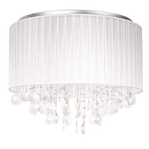 lux.pro Runde Deckenleuchte Deckenlampe LED Modernes Design Aluminium Stoff Triton Crystal Leuchte 4 x G9 Sockel