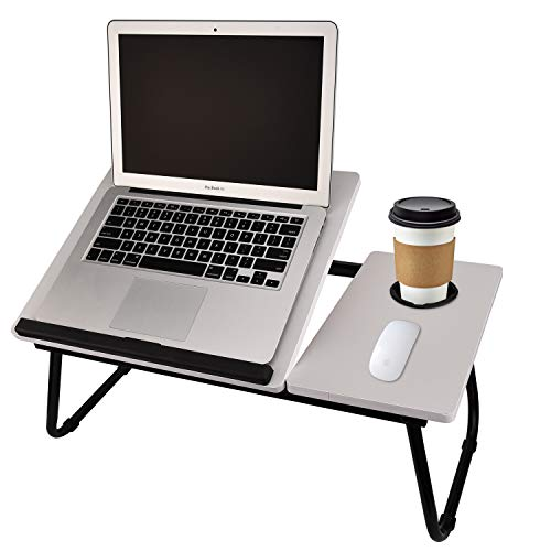 Laptop Table for Bed Portable Computer Tray for Bed,Foldable Bed Desk for Laptop Multi Tasking Laptop Bed Tray(Senior Gray) with Cup Holder