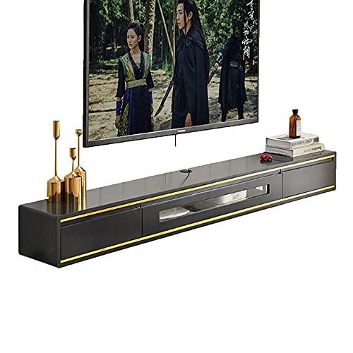 Bxzzj Consola De Armario De TV Montada En La Pared, Decodificador De Sala De Estar, Estante De Componentes De Estante De TV Flotante, con Orificio para Cable, 120 * 24 * 20 Cm (Color : A)