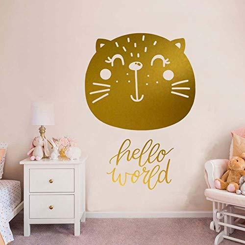 Decoración de pared de jardín de infantes decoración de gato dorado dormitorio de bebé calcomanía de pared ducha de niña jardín de infantes arte mural etiqueta de la pared 42 * 60 cm