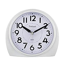 5.5 Silent Analog Alarm Clock Non Ticking, Gentle Wake, Beep Sounds, Increasing Volume, Battery Operated Snooze and Light Functions, Easy Set (White)