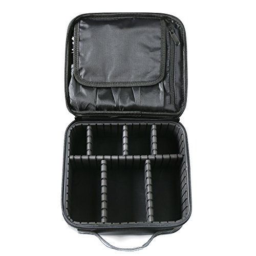 Travel Makeup Train Case, Gloriest Portable Travel Makeup Bag, 10 Inch Cosmetic Case Organizer with Adjustable Compartments(Black)