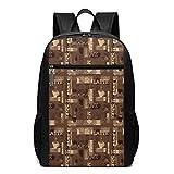 AOOEDM cartella Backpack 17 inch Zaino per laptop da scuola da 17 pollici, modello da caffetteria con tipografia d'amore al latte moka caldo su sfondo scarabocchio, zainetto casual per affari/colle