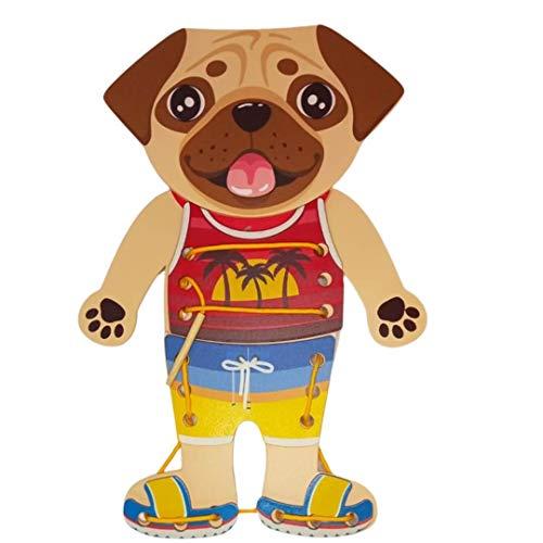 Brinquedo Educativo Madeira Alinhavo Cãozinho 3+