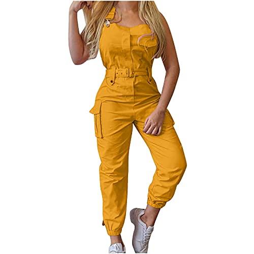 gurjs Zomeroverall voor dames, elegant, lang, overall, zomerbroek, dames, werkpak, mouwloos, met riem, eendelig voor dames, elegante zomer - geel - XL