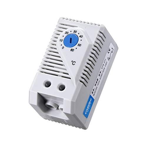 sourcing map Temperaturregler Schalter Mechanischer Thermostat KTS 011 0-60 ℃ Einstellbar Kompakte Normalerweise offener (N.O.)